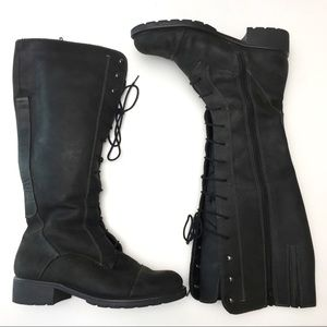 Clarks Knee High Lace Up Rugged Leather Boots